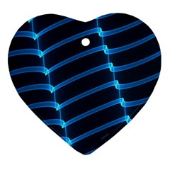 Background Light Glow Blue Heart Ornament (two Sides)