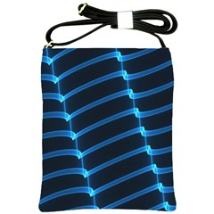 Background Light Glow Blue Shoulder Sling Bags by Nexatart