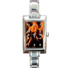 Fire Flame Heat Burn Hot Rectangle Italian Charm Watch