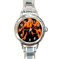 Fire Flame Heat Burn Hot Round Italian Charm Watch