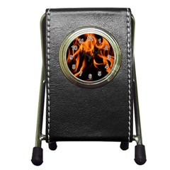 Fire Flame Heat Burn Hot Pen Holder Desk Clocks by Nexatart