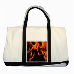 Fire Flame Heat Burn Hot Two Tone Tote Bag by Nexatart