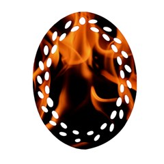 Fire Flame Heat Burn Hot Ornament (oval Filigree) by Nexatart