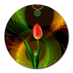 Tulip Flower Background Nebulous Round Mousepads by Nexatart