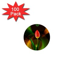 Tulip Flower Background Nebulous 1  Mini Buttons (100 Pack)