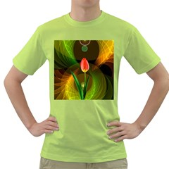 Tulip Flower Background Nebulous Green T Shirt