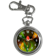 Tulip Flower Background Nebulous Key Chain Watches