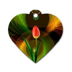 Tulip Flower Background Nebulous Dog Tag Heart (one Side) by Nexatart