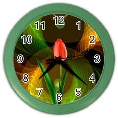 Tulip Flower Background Nebulous Color Wall Clocks