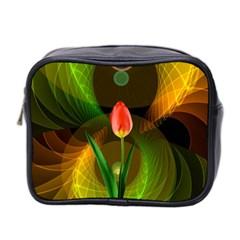 Tulip Flower Background Nebulous Mini Toiletries Bag 2 Side