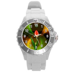 Tulip Flower Background Nebulous Round Plastic Sport Watch (l) by Nexatart