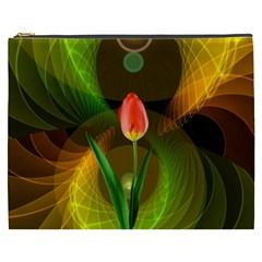 Tulip Flower Background Nebulous Cosmetic Bag (xxxl)  by Nexatart