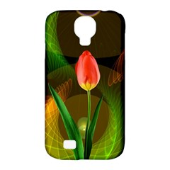 Tulip Flower Background Nebulous Samsung Galaxy S4 Classic Hardshell Case (pc+silicone)