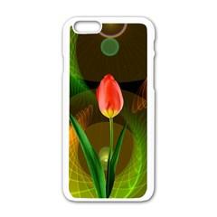 Tulip Flower Background Nebulous Apple Iphone 6/6s White Enamel Case by Nexatart