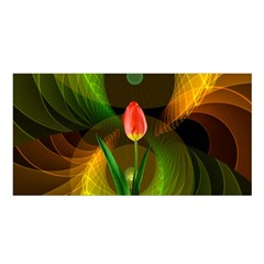 Tulip Flower Background Nebulous Satin Shawl