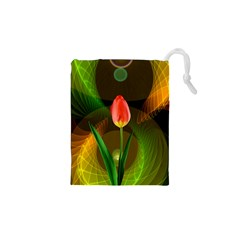 Tulip Flower Background Nebulous Drawstring Pouches (xs)