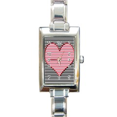 Heart Stripes Symbol Striped Rectangle Italian Charm Watch by Nexatart