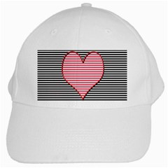 Heart Stripes Symbol Striped White Cap by Nexatart