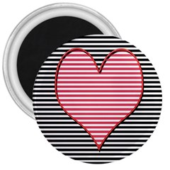 Heart Stripes Symbol Striped 3  Magnets by Nexatart
