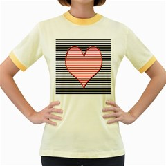 Heart Stripes Symbol Striped Women s Fitted Ringer T Shirts