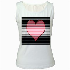 Heart Stripes Symbol Striped Women s White Tank Top