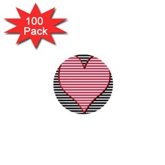Heart Stripes Symbol Striped 1  Mini Buttons (100 Pack)  by Nexatart