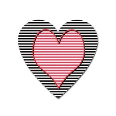 Heart Stripes Symbol Striped Heart Magnet by Nexatart