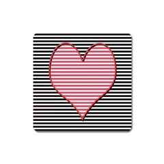 Heart Stripes Symbol Striped Square Magnet by Nexatart