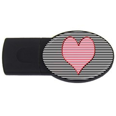 Heart Stripes Symbol Striped Usb Flash Drive Oval (2 Gb) by Nexatart