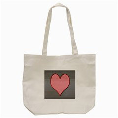 Heart Stripes Symbol Striped Tote Bag (cream) by Nexatart