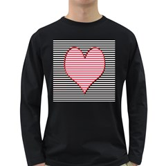 Heart Stripes Symbol Striped Long Sleeve Dark T Shirts