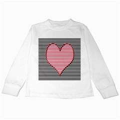 Heart Stripes Symbol Striped Kids Long Sleeve T Shirts
