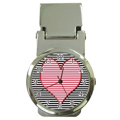 Heart Stripes Symbol Striped Money Clip Watches by Nexatart