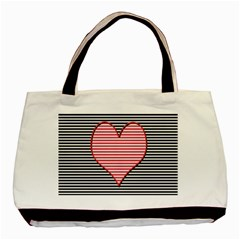 Heart Stripes Symbol Striped Basic Tote Bag by Nexatart