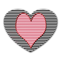 Heart Stripes Symbol Striped Heart Mousepads