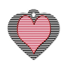 Heart Stripes Symbol Striped Dog Tag Heart (two Sides)