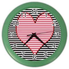 Heart Stripes Symbol Striped Color Wall Clocks by Nexatart