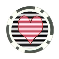Heart Stripes Symbol Striped Poker Chip Card Guard (10 Pack) by Nexatart