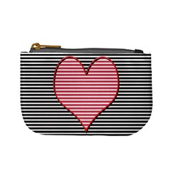 Heart Stripes Symbol Striped Mini Coin Purses