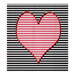 Heart Stripes Symbol Striped Shower Curtain 66  X 72  (large)  by Nexatart