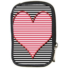Heart Stripes Symbol Striped Compact Camera Cases