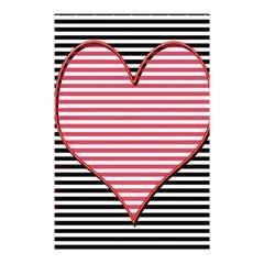 Heart Stripes Symbol Striped Shower Curtain 48  X 72  (small)