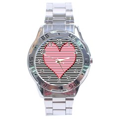 Heart Stripes Symbol Striped Stainless Steel Analogue Watch