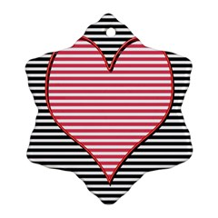Heart Stripes Symbol Striped Ornament (snowflake) by Nexatart