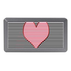 Heart Stripes Symbol Striped Memory Card Reader (mini) by Nexatart