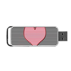 Heart Stripes Symbol Striped Portable Usb Flash (two Sides) by Nexatart