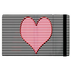 Heart Stripes Symbol Striped Apple Ipad 3/4 Flip Case by Nexatart