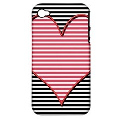 Heart Stripes Symbol Striped Apple Iphone 4/4s Hardshell Case (pc+silicone)