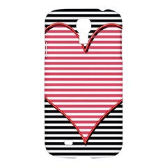 Heart Stripes Symbol Striped Samsung Galaxy S4 I9500/i9505 Hardshell Case by Nexatart