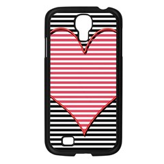 Heart Stripes Symbol Striped Samsung Galaxy S4 I9500/ I9505 Case (black) by Nexatart